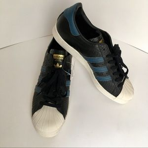 Adidas Superstar 80's black/blue/gold S:101/2 NWT